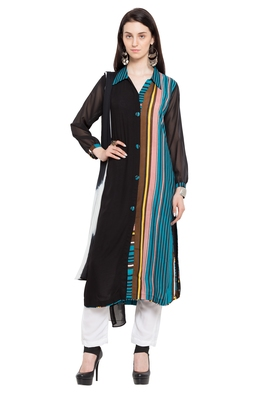 Black printed cotton salwar