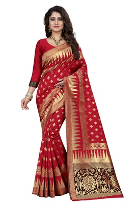 Red embroidered banarasi saree with blouse