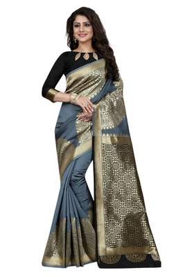Grey Embroidered Banarasi Saree With Blouse