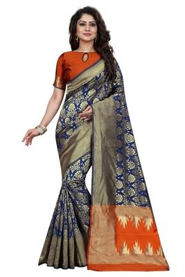 Blue embroidered banarasi saree with blouse