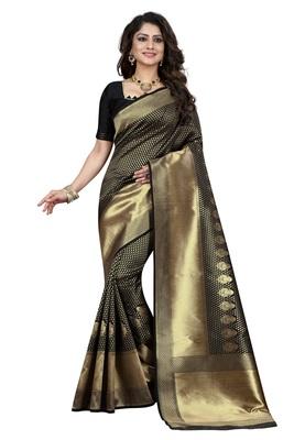 Black embroidered banarasi saree with blouse