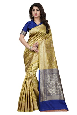 beige embroidered banarasi saree with blouse