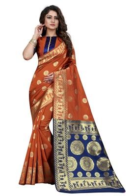 Rust embroidered banarasi saree with blouse