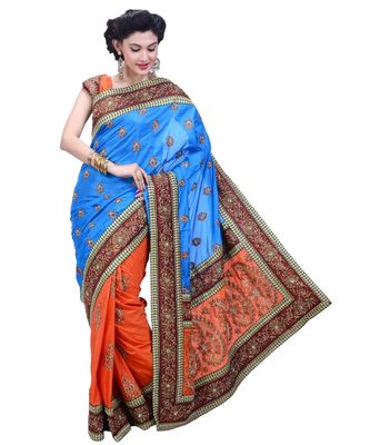 torquoise embroidered art silk saree with blouse