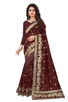 Brown embroidered Art Silk saree with blouse