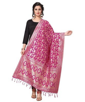 Pink Jacquard Silk Women's Dupatta With Zalor.