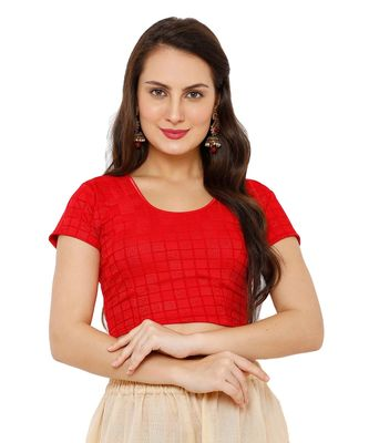Women's Red Lycra Stretchable Readymade Saree Blouse