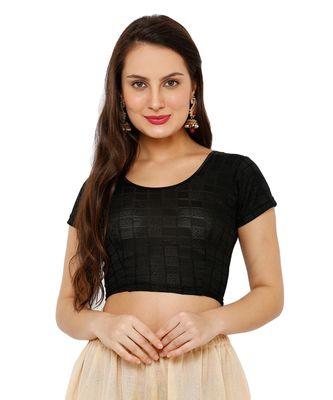 Women's Black Lycra Stretchable Readymade Saree Blouse