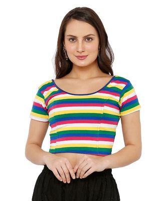Women's Multicolor Cotton Lycra Stretchable Readymade Saree Blouse