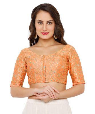 Women's Peach Dupion Silk Readymade Padded Saree Blouse