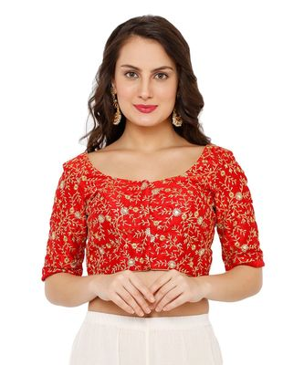 Women's Red Dupion Silk Readymade Padded Saree Blouse