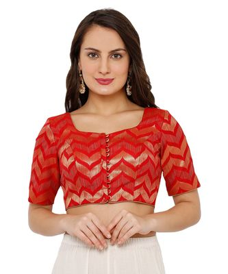 Women's Red Brocade Readymade Padded Saree Blouse