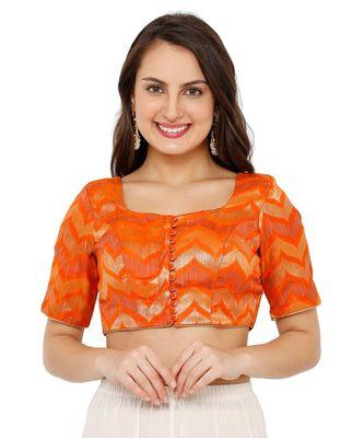 Women's Orange Brocade Readymade Padded Saree Blouse
