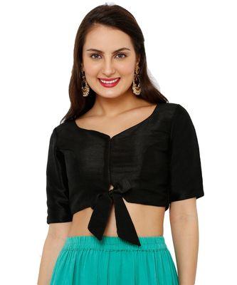Women's Black Mulbery Silk Readymade Padded Saree Blouse