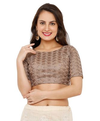 Women's Brown Net Readymade Padded Saree Blouse