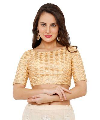 Women's Gold Net Readymade Padded Saree Blouse