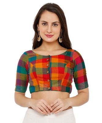 Women's Multicolor Cotton Readymade Padded Saree Blouse