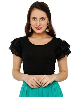 Women's Black Cotton Lycra Stretchable Readymade Saree Blouse
