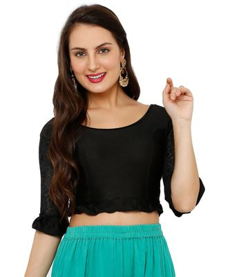 Women's Black Lycra Stretchable Readymade Saree Blouse