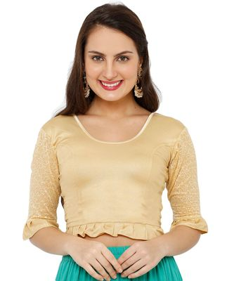 Women's Gold Lycra Stretchable Readymade Saree Blouse