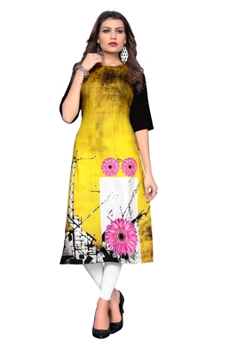 Yellow Heavy American Crepe Casual Kurti