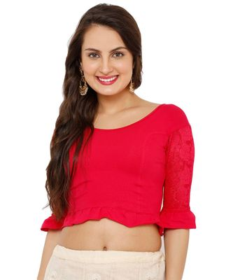 Women's Pink Lycra Stretchable Readymade Saree Blouse