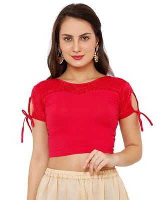 Women's Pink Cotton Lycra Stretchable Readymade Saree Blouse