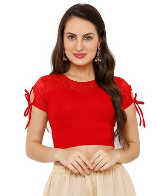 Women's Red Cotton Lycra Stretchable Readymade Saree Blouse