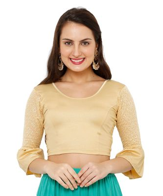Women's Gold Nylon Stretchable Readymade Saree Blouse