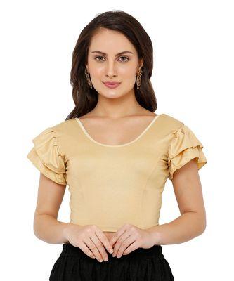 Women's Gold Nylon Stretchable Readymade Saree Blouse