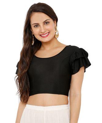 Women's Black Nylon Stretchable Readymade Saree Blouse