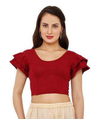 Women's Maroon Cotton Lycra Stretchable Readymade Saree Blouse