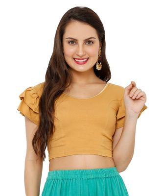 Women's Gold Cotton Lycra Stretchable Readymade Saree Blouse