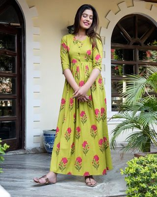 Green Yellow Pure Maslin Gown