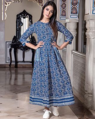 Steel Blue Pure Maslin Gown