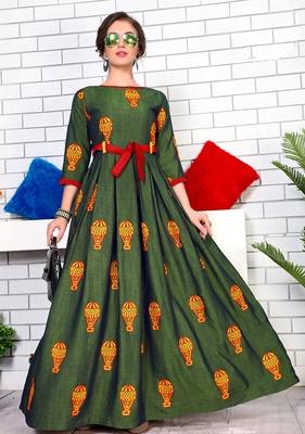 Green Namo Slub Two-Tone Rayon Fancy Kurti