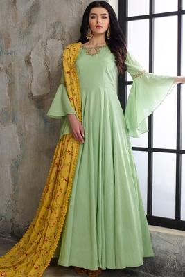 Designer Mint Green  Heavy Cotton Maslin Slub HandWork Partywear Suit