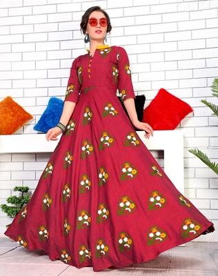 Red Namo Slub Two Tone Rayon Fancy Kurti