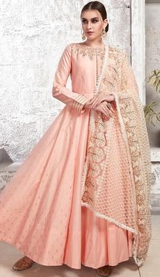 Partywear Designer Light Pink Zurich Satin Partywear Suit