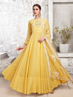 Partywear Designer Yellow Heavy Cotton Maslin  Partywear Suit