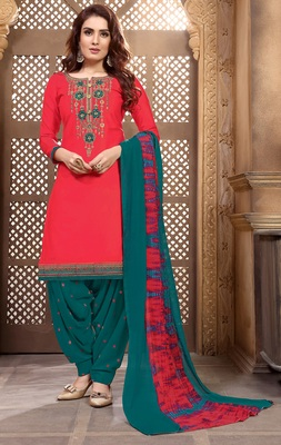 Designer Partywear Embroidery Red Heavy Cotton Salwar Kameez
