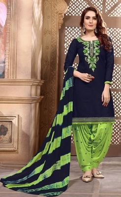 Designer Partywear Embroidery Navy Blue Heavy Cotton Salwar Kameez