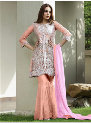 Orange embroidered net salwar