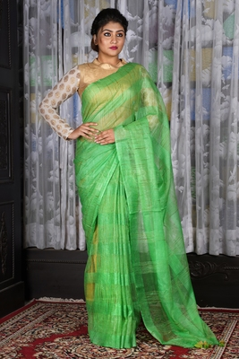 GREEN JUTE ORGANZA SAREE WITH WEAVING DESIGN