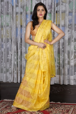 YELLOW JUTE ORGANZA SAREE WITH WEAVING DESIGN