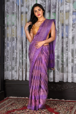 PURPLE JUTE ORGANZA SAREE WITH WEAVING DESIGN