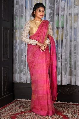 PINK JUTE ORGANZA SAREE WITH WEAVING DESIGN