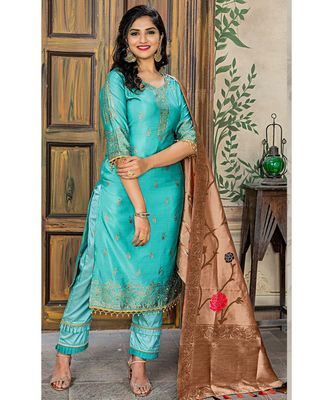 blue embroidered banarasi semi stitched salwar with dupatta