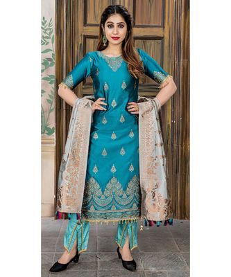 blue embroidered banarasi semi stitched salwar with dupatta