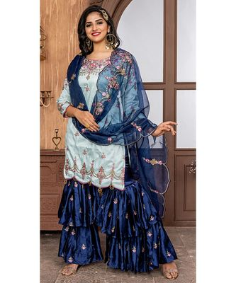 blue embroidered Ruby semi stitched salwar with dupatta